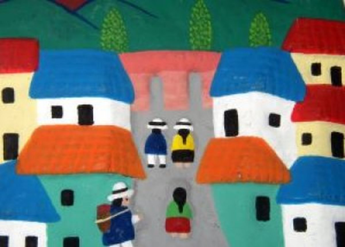 No! Sometimes it is just beautiful like this Ecuadorian painting depicting a village. This painting was created by a local, using traditional techniques.  It reflects daily life, and it is folk art.