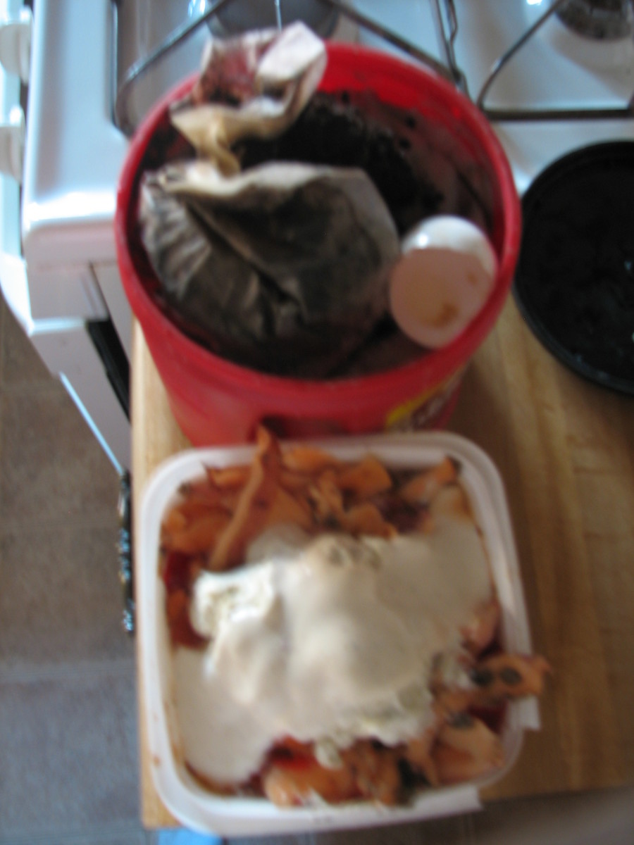 The entire household collects food stuff that can go to the compost pile.