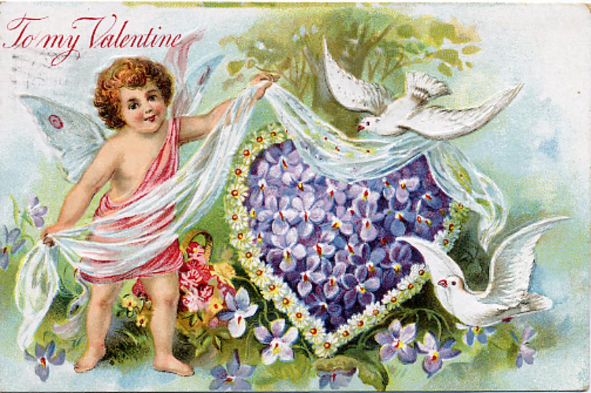 Free vintage Valentine angel cards