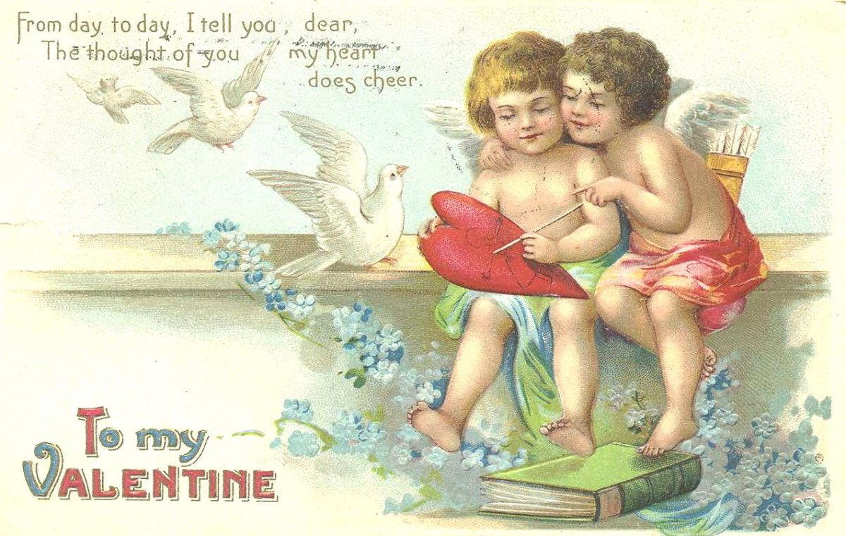 Two cherubs with hearts and doves vintage Valentines card