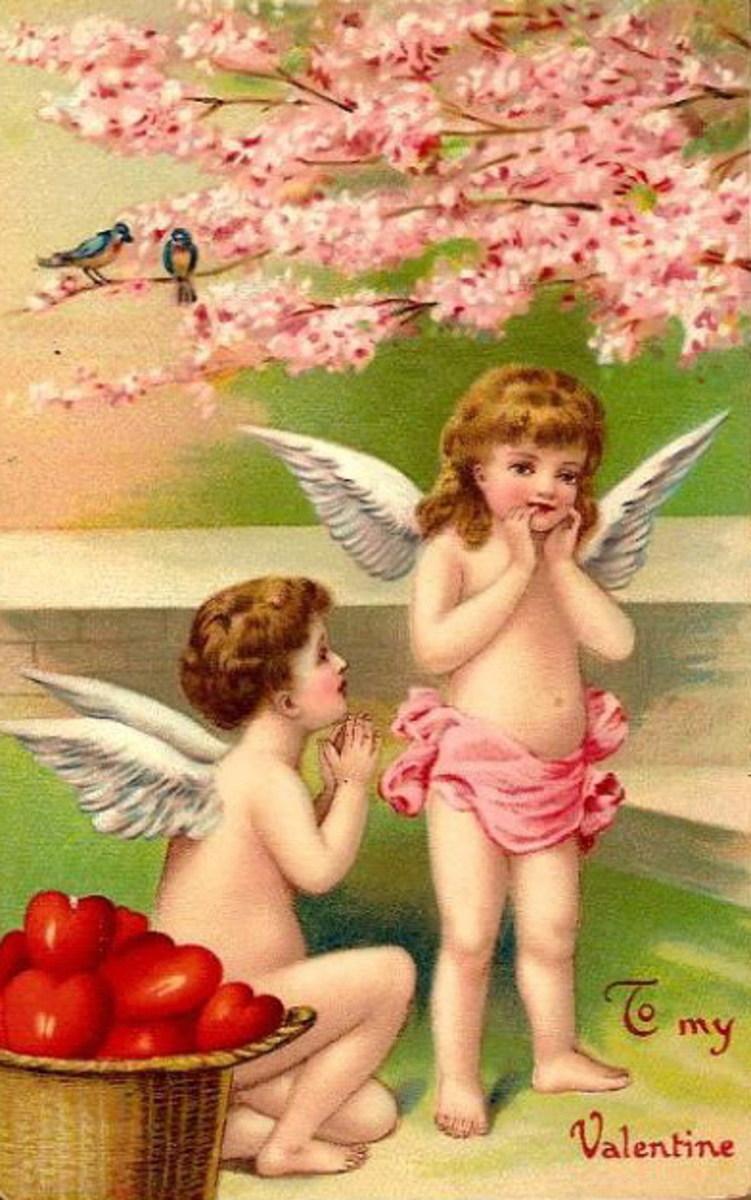 Two cherubs under a cherry tree vintage Valentine's Day card
