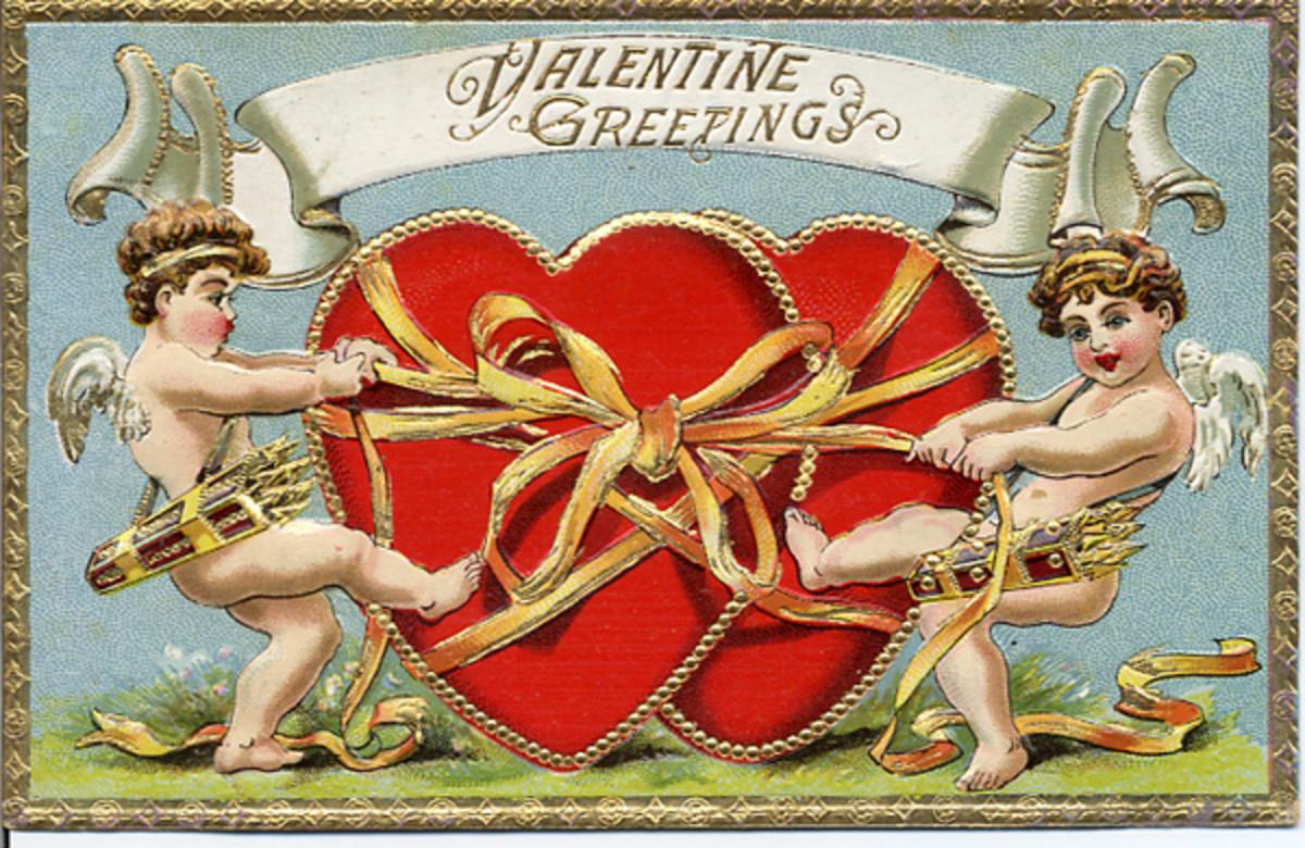 Cherubs tying up two hearts vintage Valentine postcard