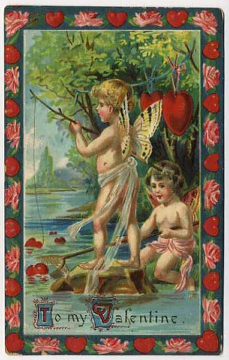Two cherubs fishing for hearts in a stream vintage Valentine card
