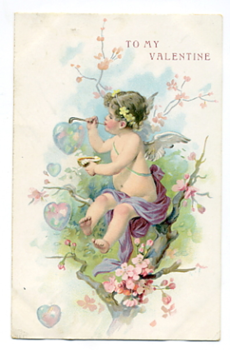 Cherub in a tree making heart-shaped bubbles vintage Valentine card