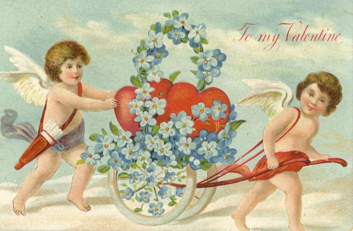 Two cherubs with a flower cart vintage Valentine card
