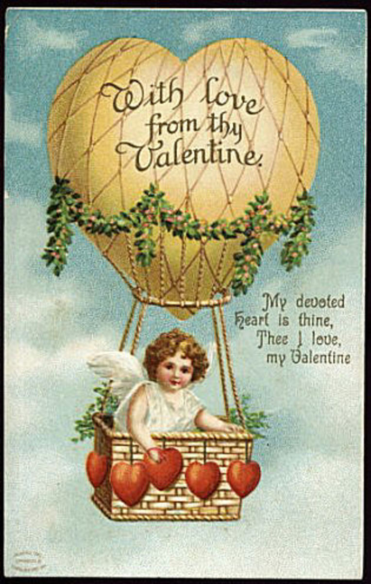 "Cherub in a hot air balloon: ""With Love from Thy Valentine"" message vintage Valentine card"