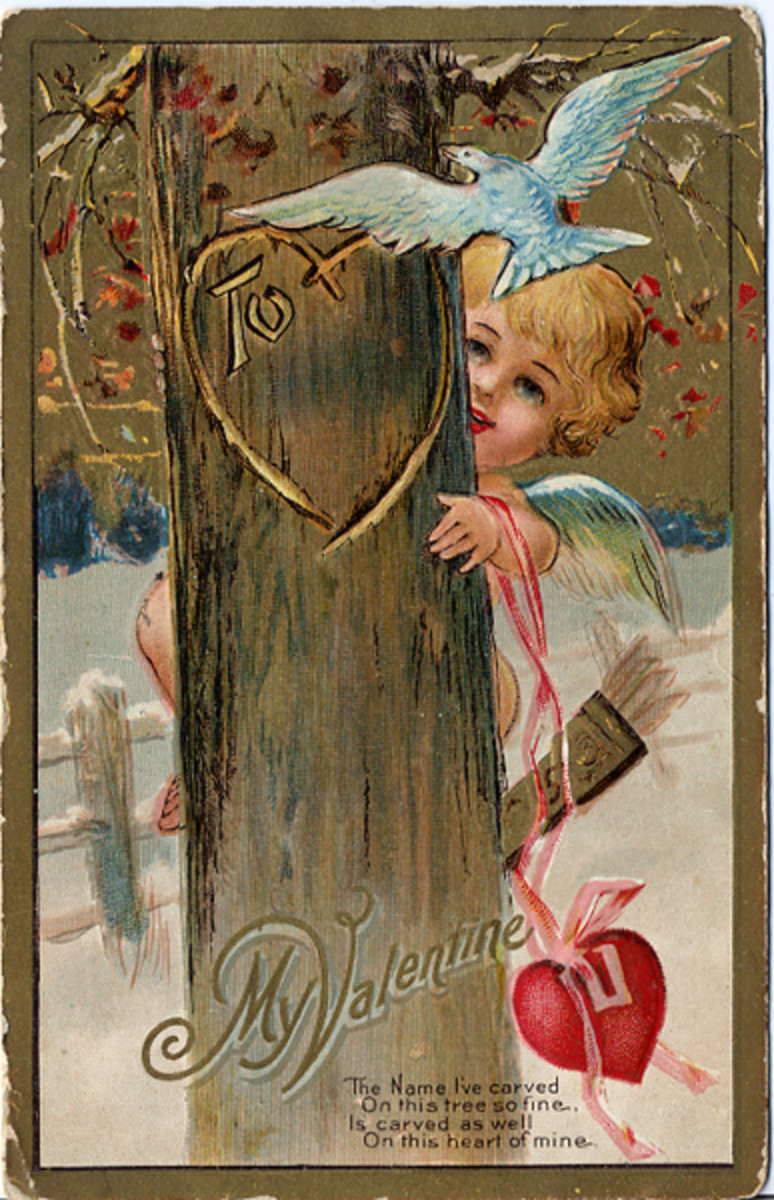Cherub hiding behind a tree vintage Valentine greeting card