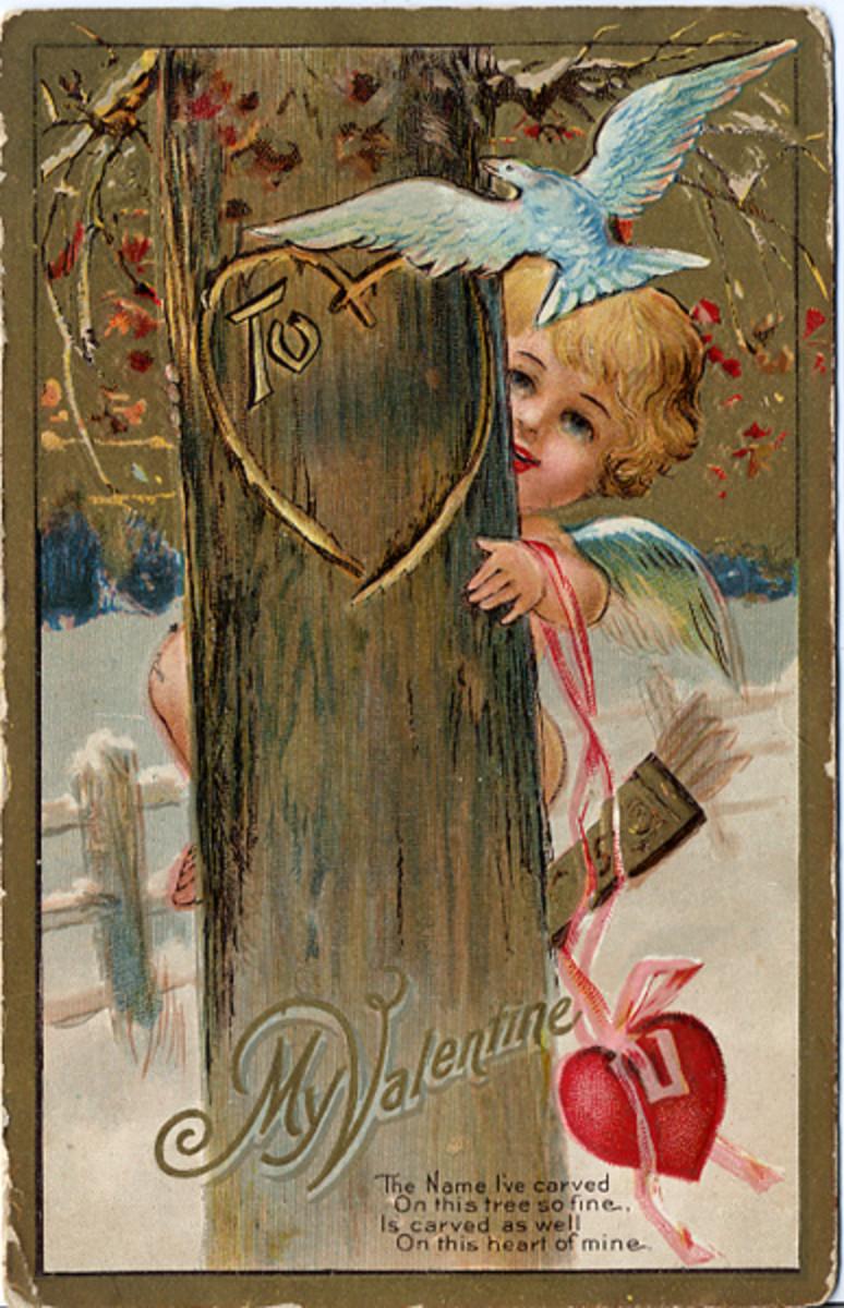 Cherub hiding behind a tree vintage Valentine greeting card