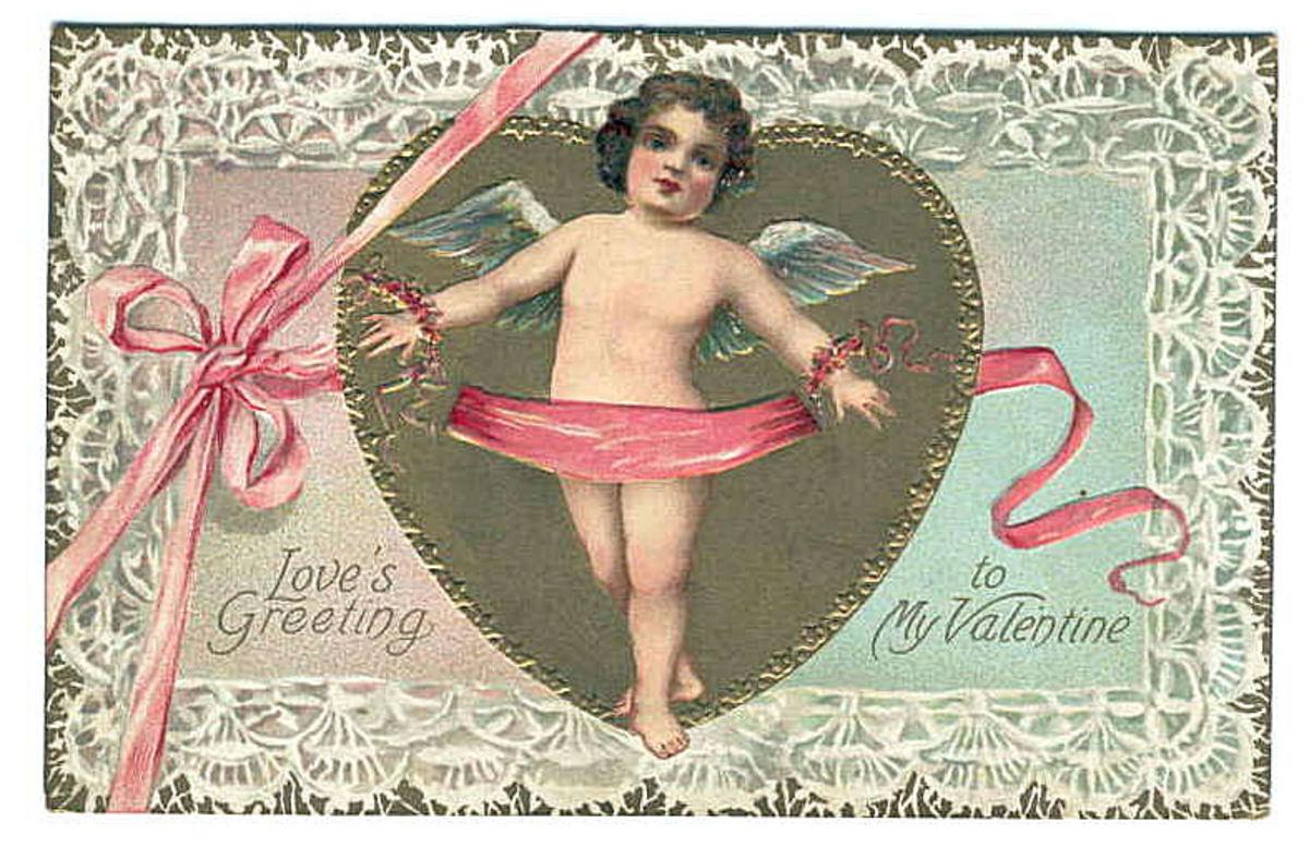 Cherub with pink ribbon vintage Valentine's Day card