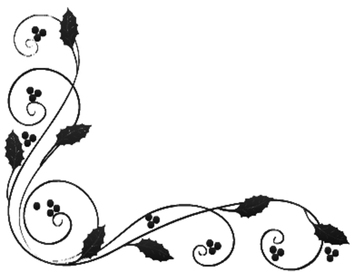 Black and white holly Christmas border lower left corner