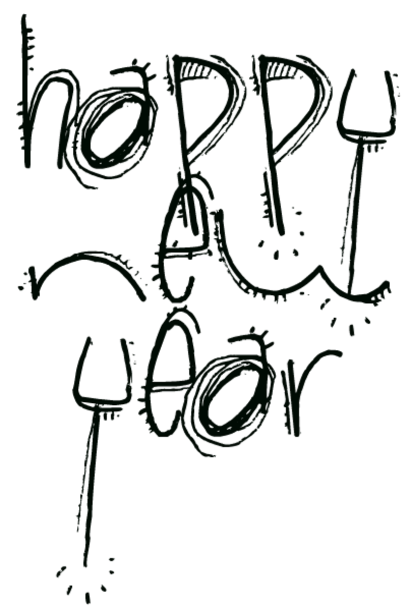 Happy New Year funky font