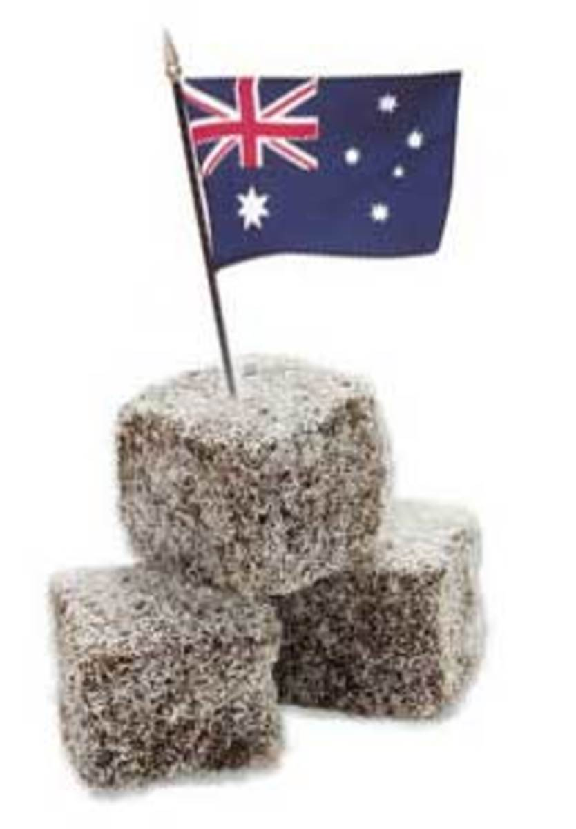 Two Aussie Icons Our flag and Our Lamingtons