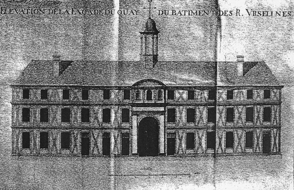 This is the older Ursuline Convent building, construction starting in 1727; it was dismantled in the 1740s with some material reused in construction of the current building.