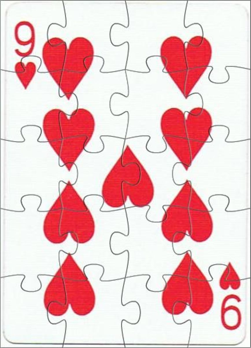 9 of hearts playing cards clip art with puzzle effect