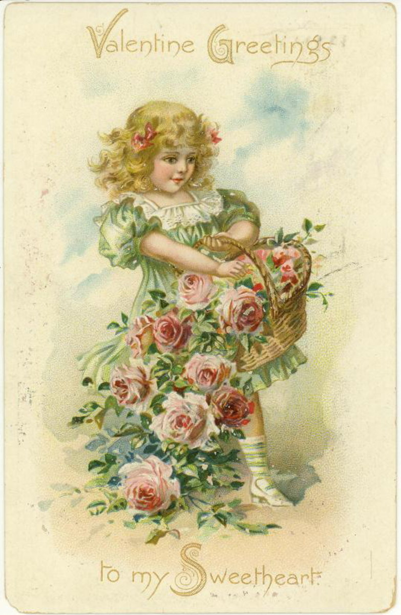 Cute kids: little girl with basket of pink flowers on a romantic card