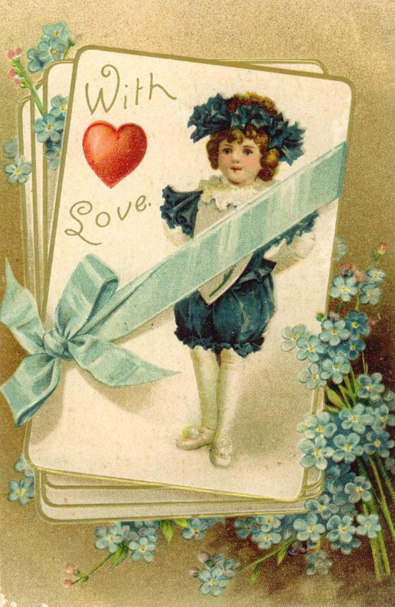 Cute kids: little boy with blue flowers and bow, red heart on a Victorian Valentine card