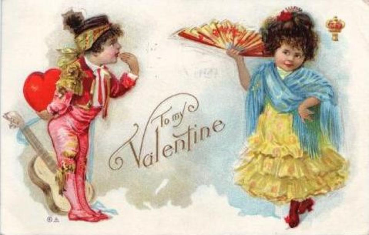 Vintage children: Spanish Valentines card