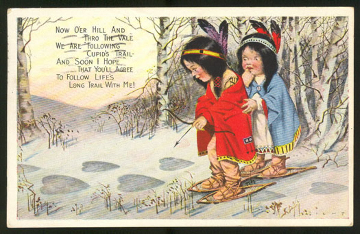 Cute kids: Native American Indian Valentine's Day card