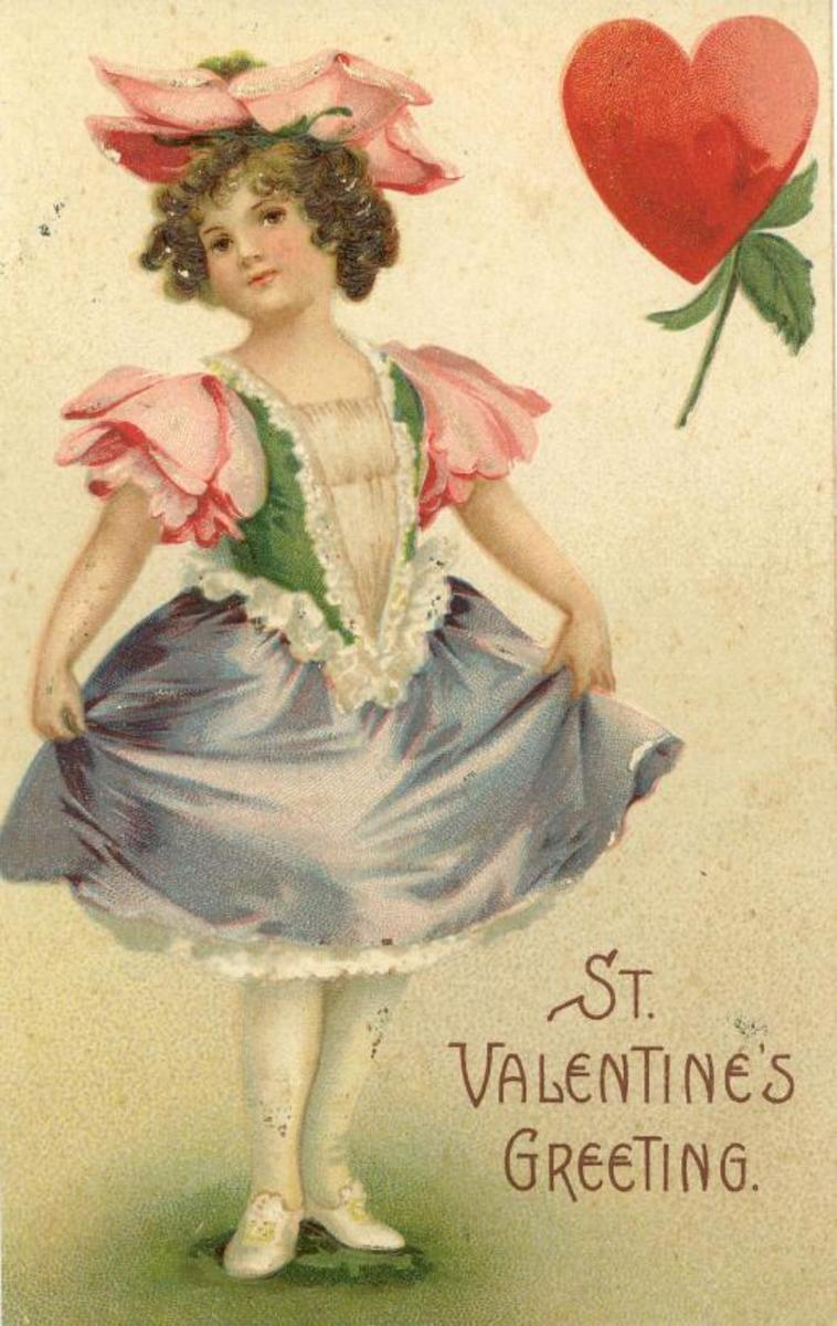 Cute kids: little girl curtsying on a vintage Valentine