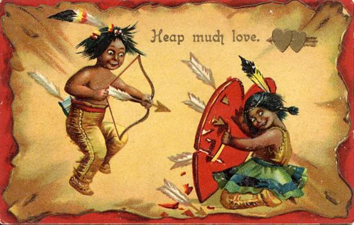 Vintage kids: Native American Indian Valentine's Day card