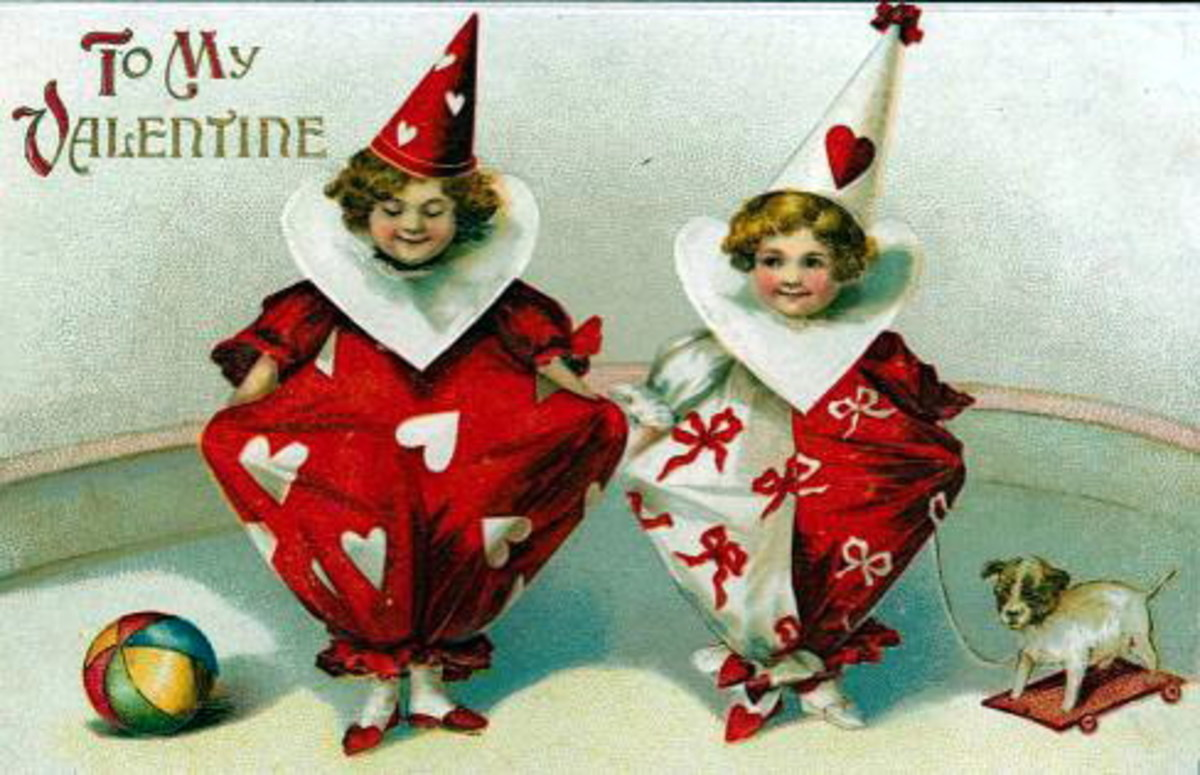 Cute kids: Two Valentine Day clowns in red heart suits on a vintage Valentine