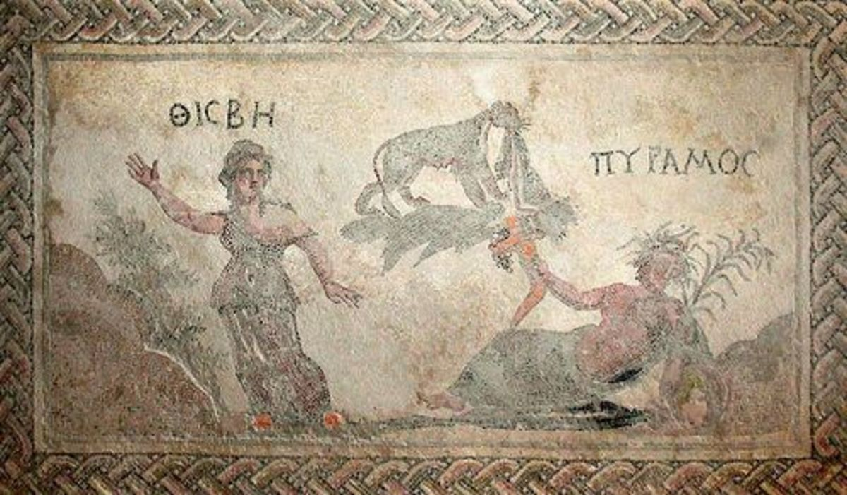 Mosaic from the House of Dionysos in Paphos, Pyramus and Thisvi, 3rd century CE