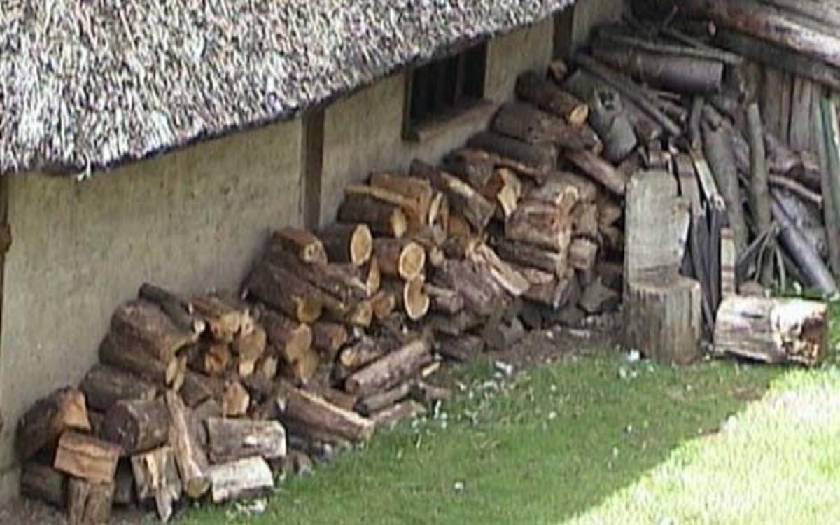 Firewood woodpile at Mountfitchet castle