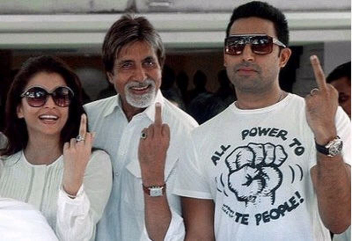 Aishwarya Bachchan showing middle finger