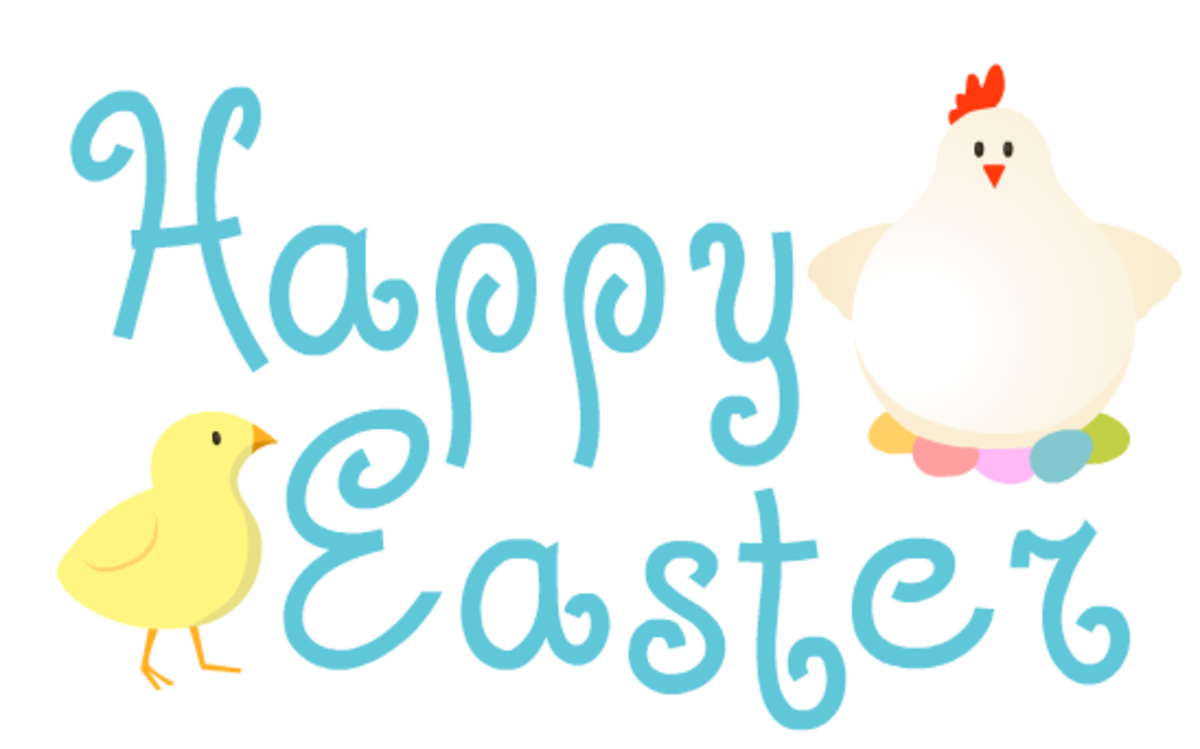 Chicken and baby chick greeting Easter clip art