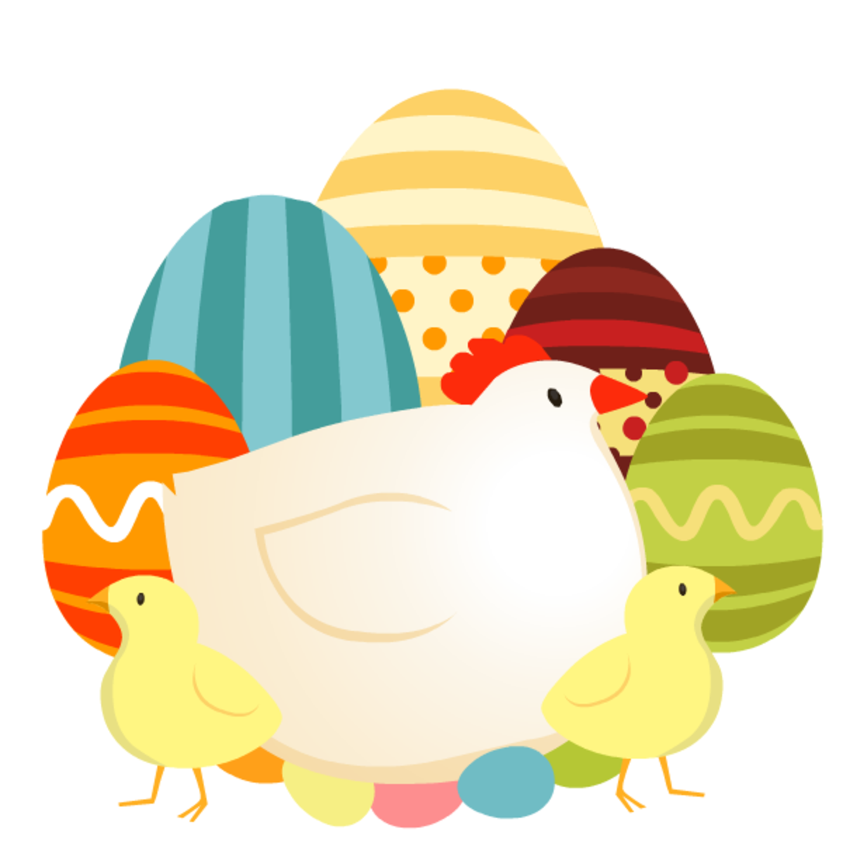 Chicken, Easter eggs and baby chicks Easter clipart
