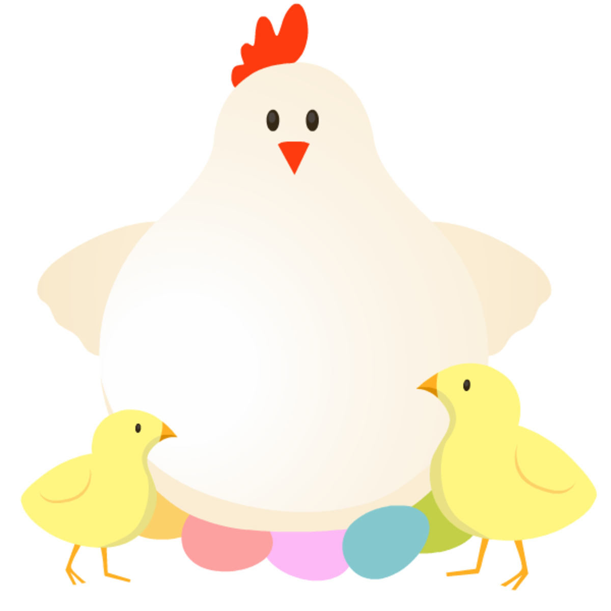 Mother hen, colored eggs and baby chicks Easter clipart