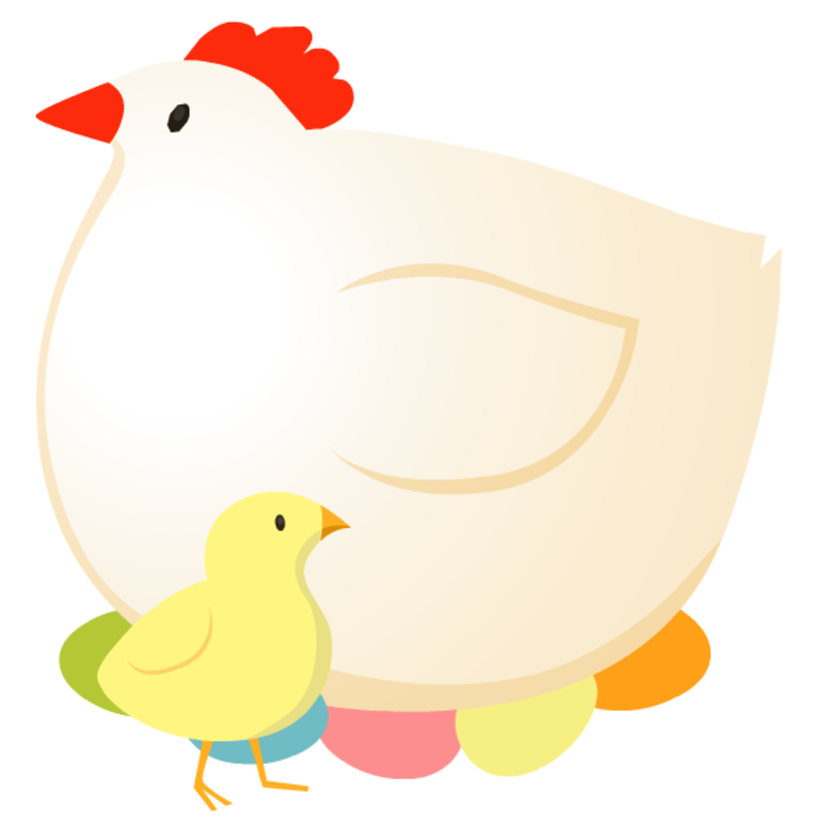 Mother hen, Easter eggs and baby chick Easter clip art