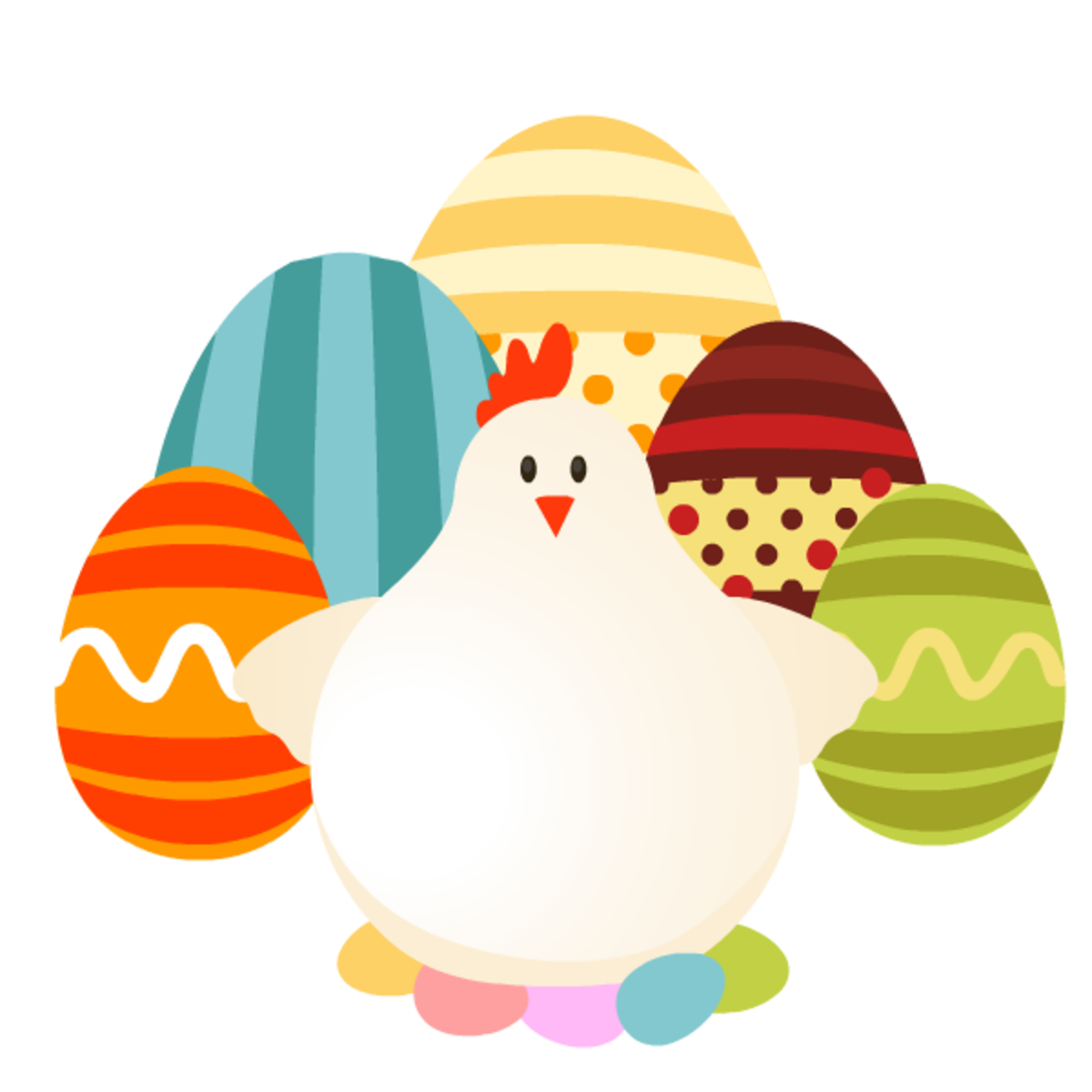 Chicken and colored eggs Easter clip art
