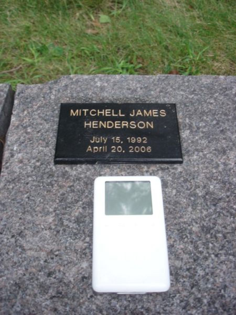 Somebody took a picture of their ipod on Mitchell's grave and sent it to his parents