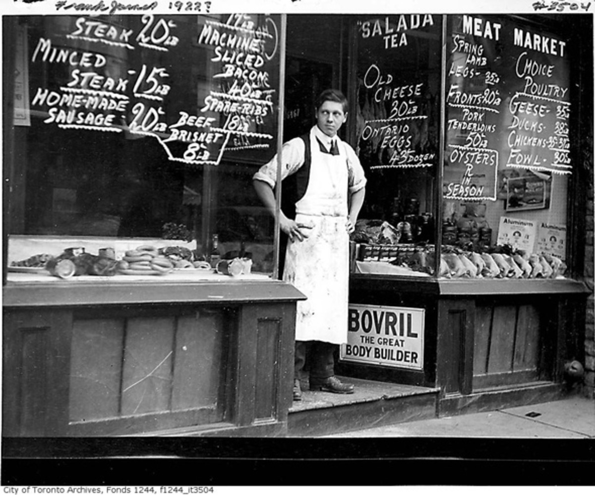 An old fashioned butcher shop in the 1920's