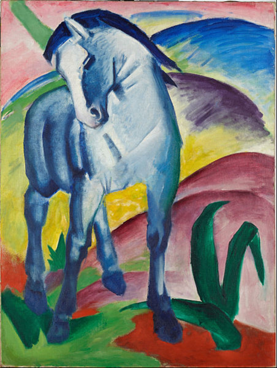 Blue Horse I by Franz Marc (1911). Currently owned by the Lenbachhaus Museum in Munich, Germany