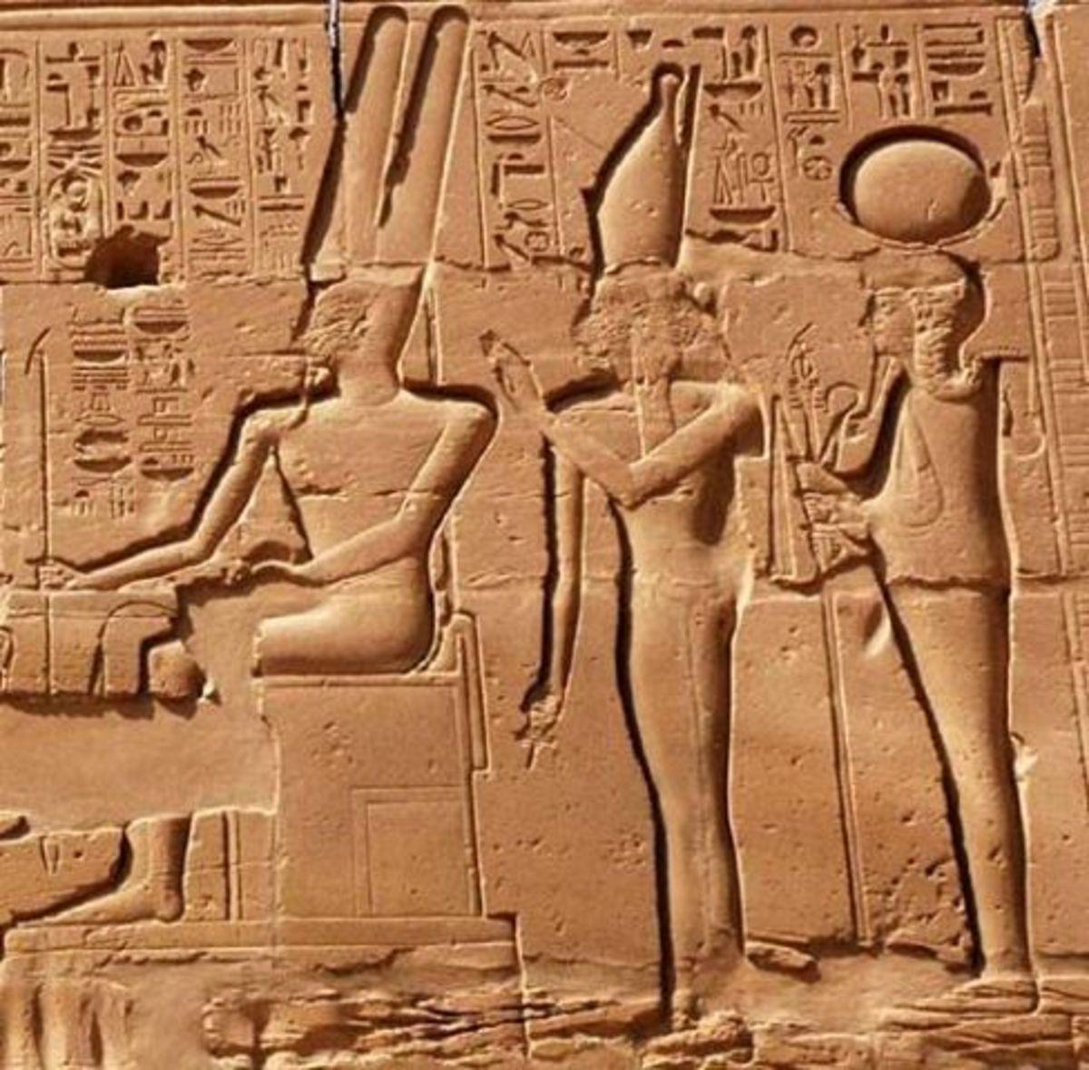 Theban triad, Amen, Mut, and Khonsu
