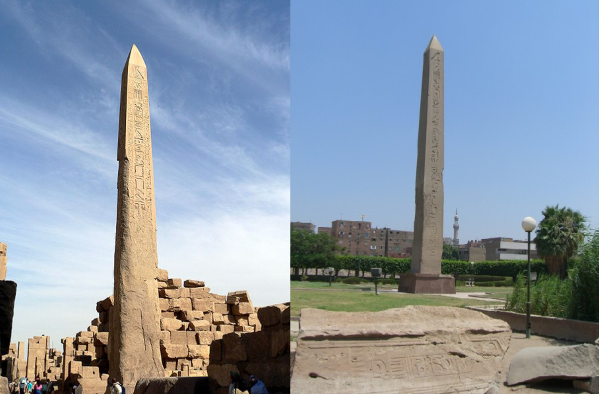 Obelisk standing in Karnak Thebes today, and Obelisk standing in Heliopolis