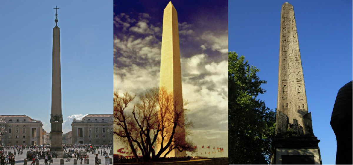 Obelisk at Vatican City, Washington D.C., and in London City.
