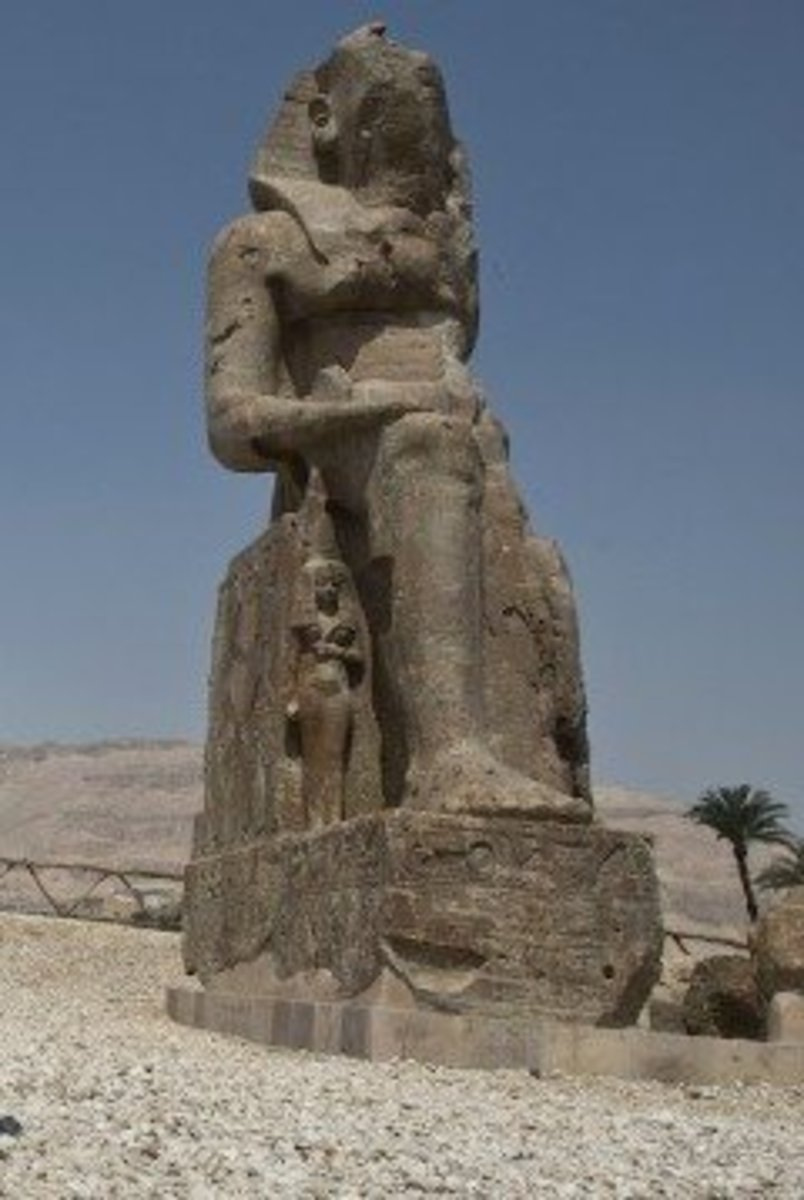 New statue erected in Luxor. Amenhotep lll and his wife. An Egyptian Pharaoh who's title means Amen is satisfied.