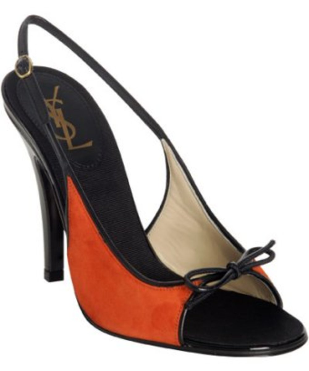 Yves Saint Laurent orange suede 'True Col' sandals Price around $495.00