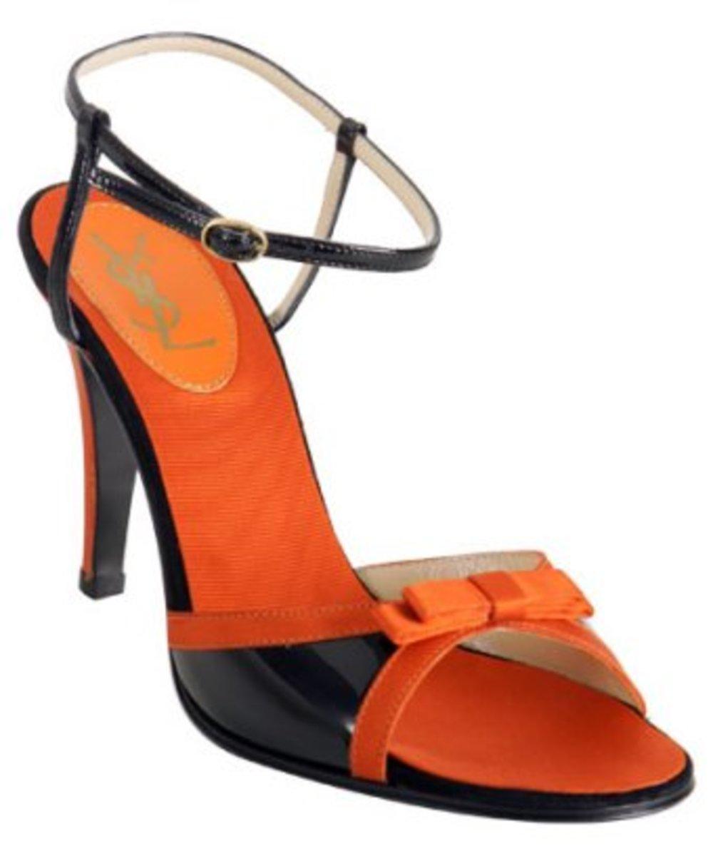 Yves Saint Laurent orange patent 'Moonlight' ankle strap sandals retail value: $495.00