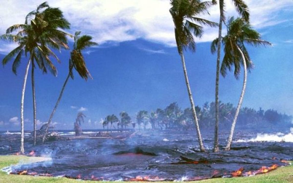 Lava Flow Covering Kalapana Village 1990