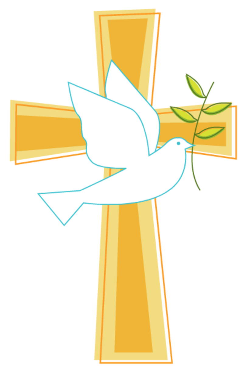 Cross and dove of peace Easter clipart