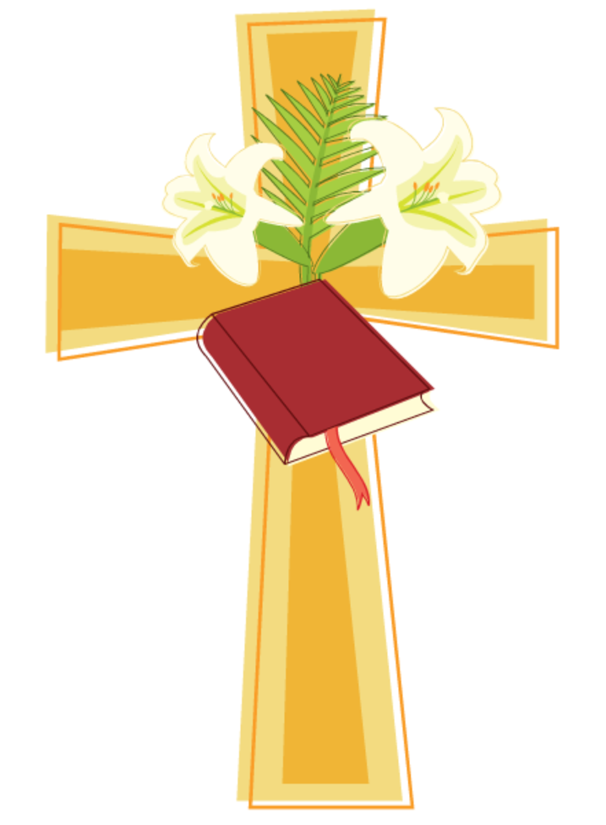 Cross, Easter lilies and Bible clip art