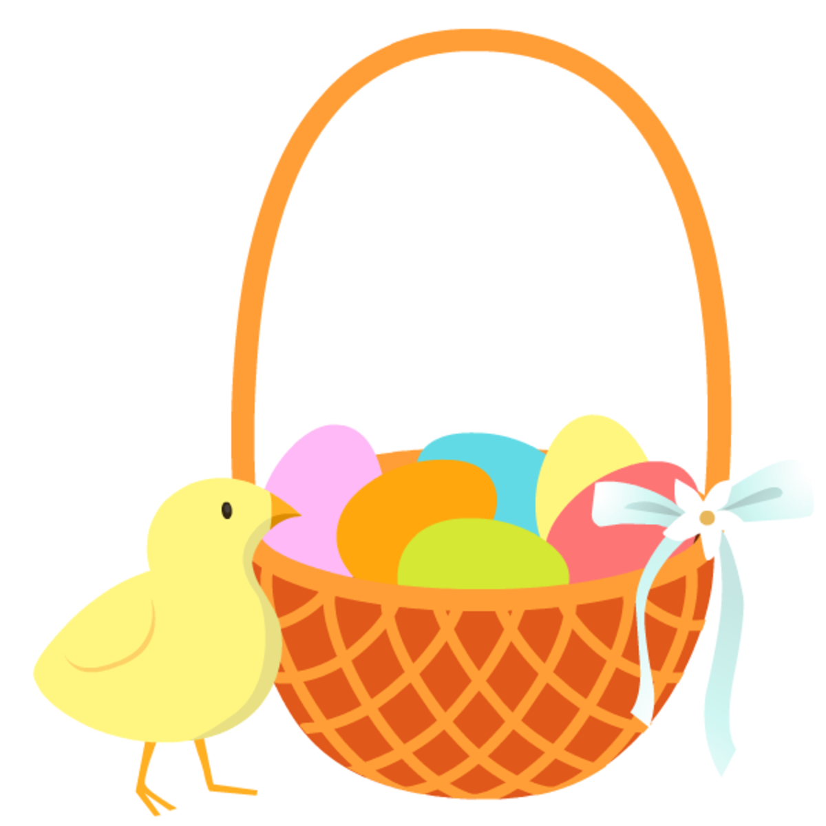 Easter basket with colored eggs and baby chick