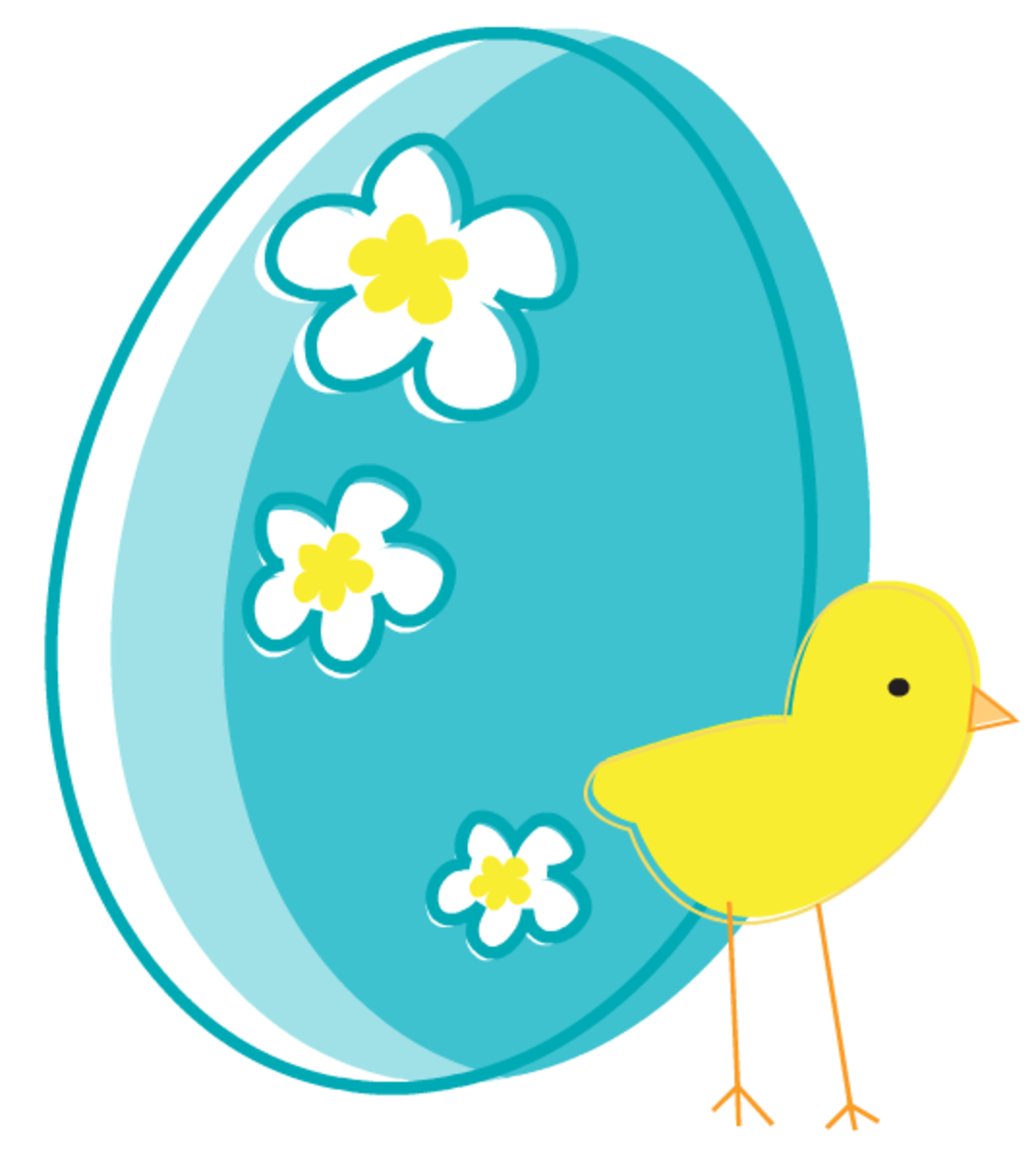Flowered Easter egg and baby chick Easter clip art