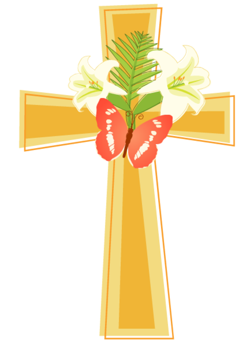 Cross, Easter lilies and butterfly clipart