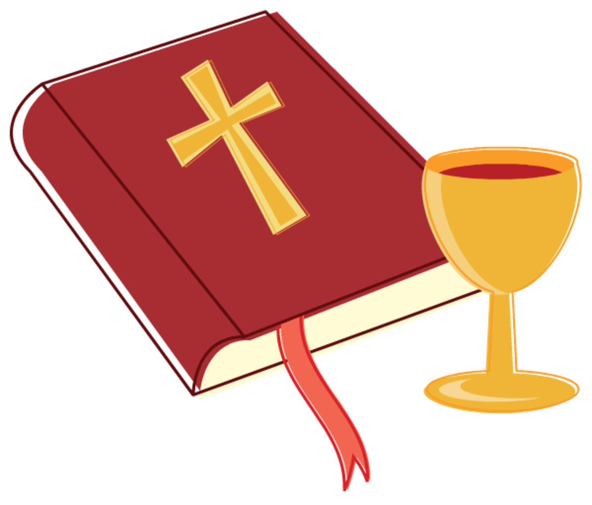 Bible and sacramental wine clipart