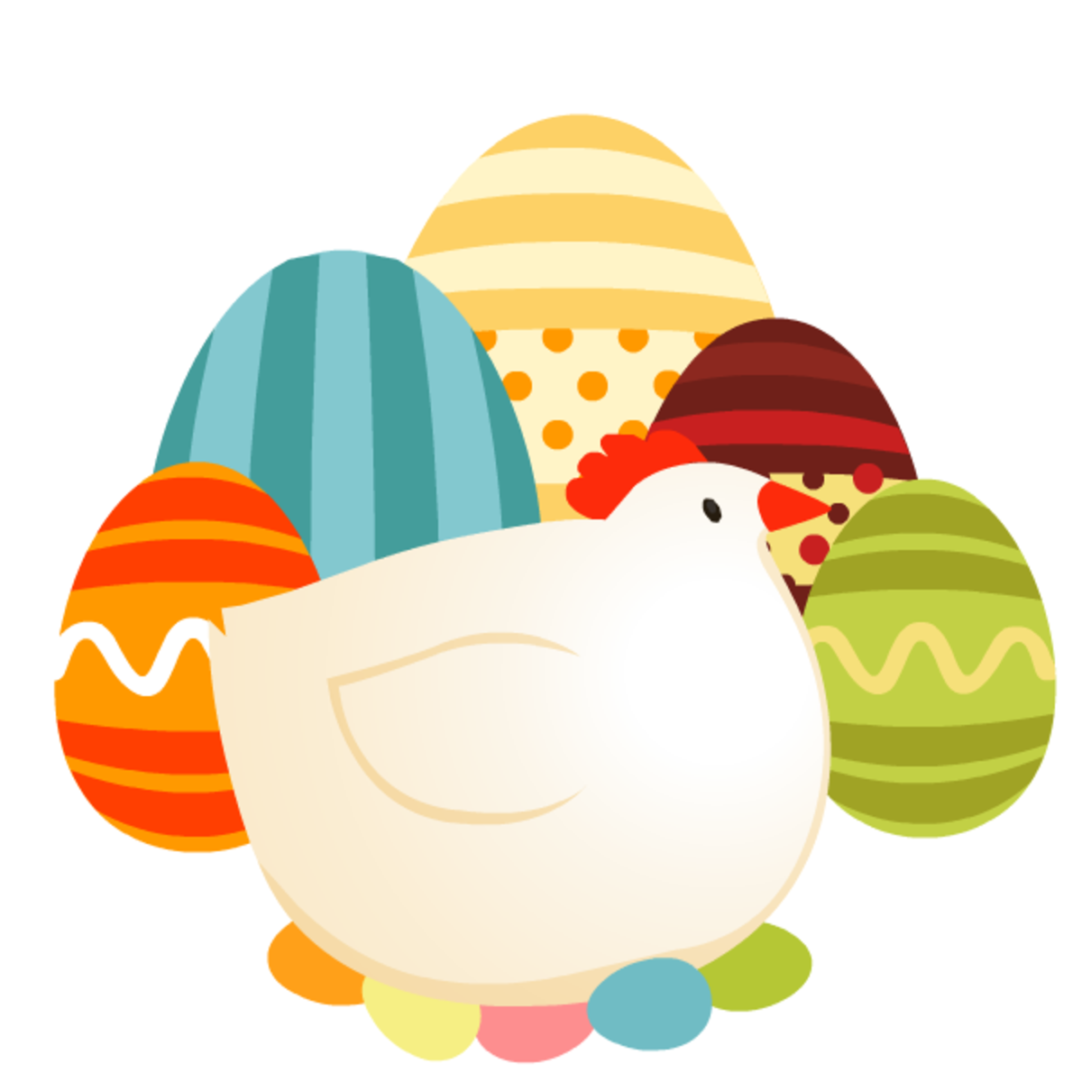 Mother hen and Easter eggs Easter clip art